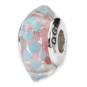 Sterling Silver Reflections Blue Pink Hand-blown Glass Bead