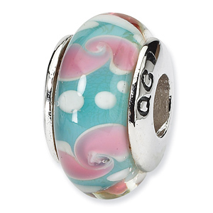 Sterling Silver Reflections Aqua Blue Pink Hand-blown Glass Bead