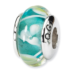 Sterling Silver Reflections Blue Pale Yellow Hand-blown Glass Bead