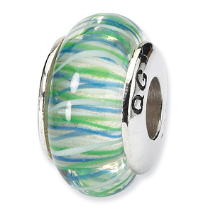 Sterling Silver Reflections Blue Green Lines Hand-blown Glass Bead