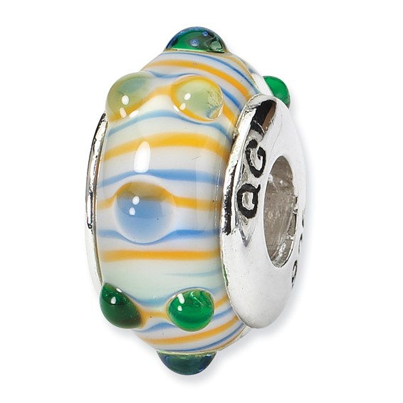 Sterling Silver Blue Green Yellow Stripes Hand-blown Glass Bead