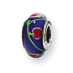 Sterling Silver Reflections Blue Pink Green Hand-blown Glass Bead