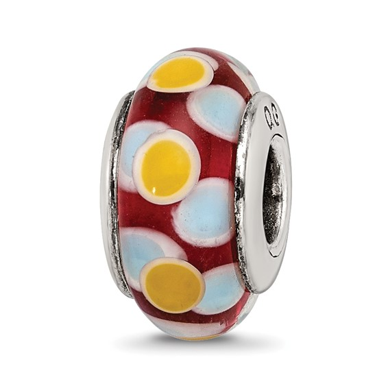 Sterling Silver Reflections Brown Blue Yellow Hand-blown Glass Bead