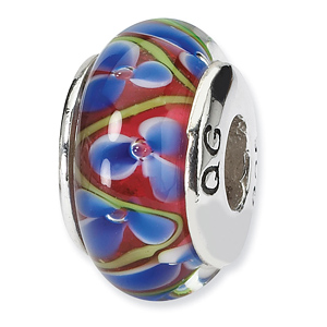 Sterling Silver Reflections Blue Red Hand-blown Glass Bead