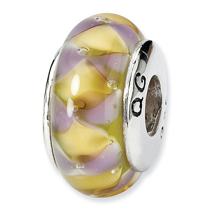 Sterling Silver Purple Yellow Hand-blown Glass Bead