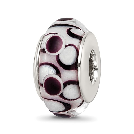 Sterling Silver Reflections Black Hand-blown Glass Bead