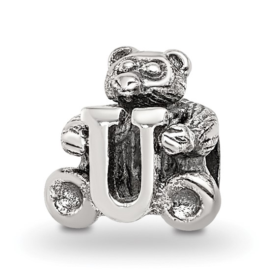 Sterling Silver Reflections Kids Letter U Bead