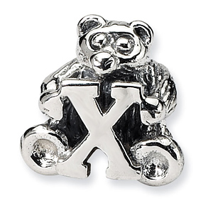 Sterling Silver Reflections Kids Letter X Bead