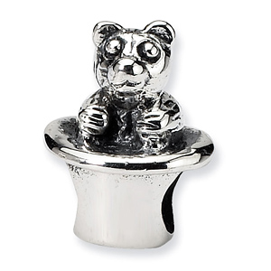 Sterling Silver Reflections Kids Bear in Hat Bead