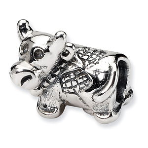 Sterling Silver Reflections Kids Cow Bead