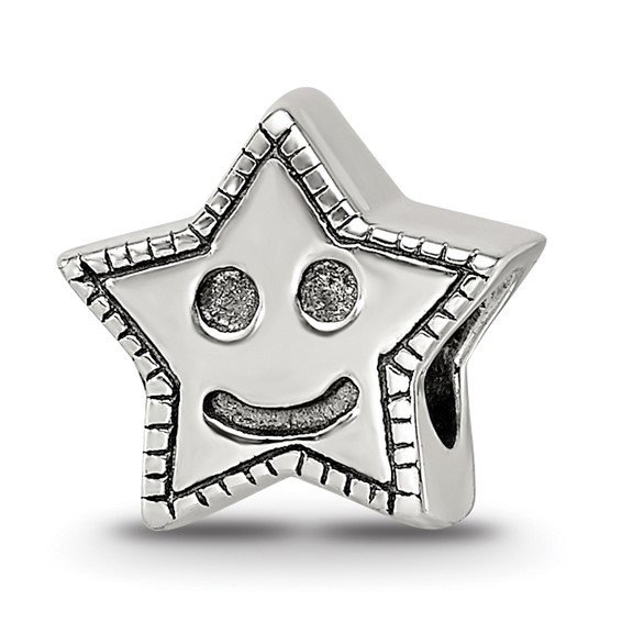 Sterling Silver Reflections Kids Smiley Star Bead