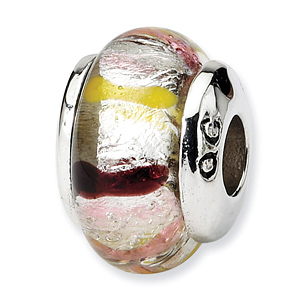 Sterling Silver Reflections Kids Pink Hand-blown Glass Bead