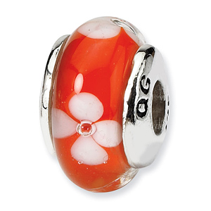Sterling Silver Reflections Kids Orange Hand-blown Glass Bead