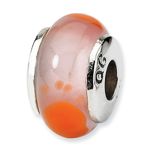 Sterling Silver Reflections Kids Orange Foot Murano Glass Bead