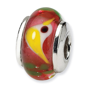 Sterling Silver Reflections Kids Red Bird Murano Glass Bead
