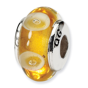 Sterling Silver Reflections Kids Yellow Hand-blown Glass Bead