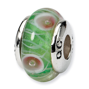 Sterling Silver Reflections Kids Green Hand-blown Glass Bead