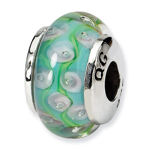 Sterling Silver Reflections Kids Blue&Green Hand-blown Glass Bead