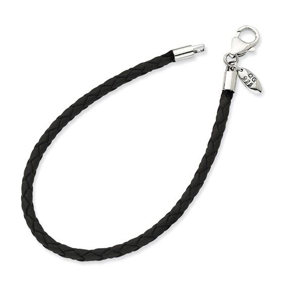 7.75in Sterling Silver Black Leather Bead Bracelet