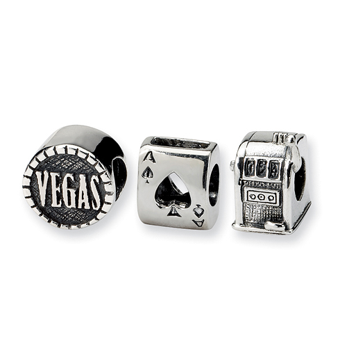 Sterling Silver Reflections Gambler Boxed Bead Set