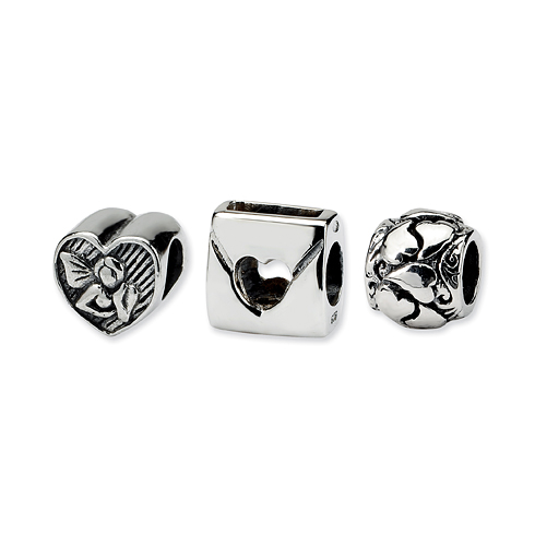 Sterling Silver Reflections Love Boxed Bead Set