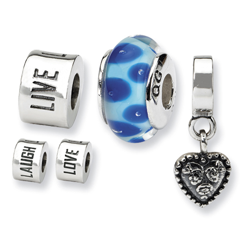 Sterling Silver Reflections Live Love Laugh Boxed Bead Set