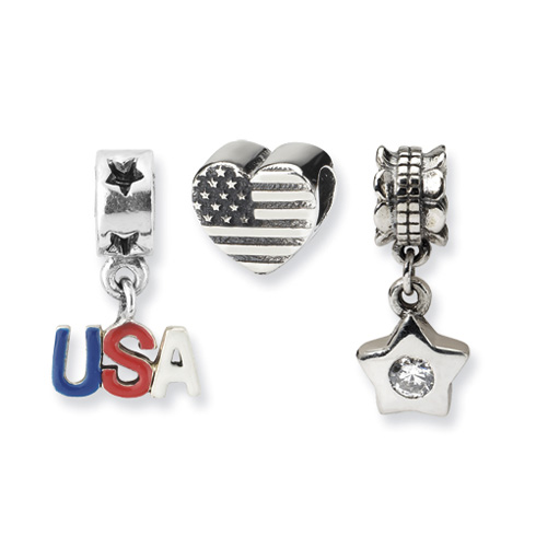Sterling Silver Reflections American Pride Boxed Bead Set