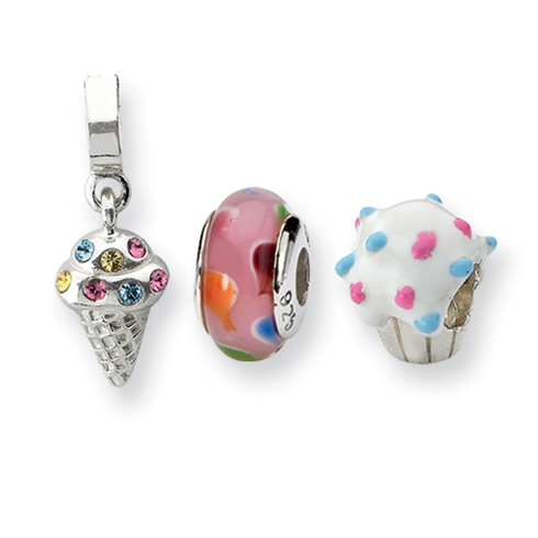 Sterling Silver Reflections Happy Birthday Boxed Bead Set