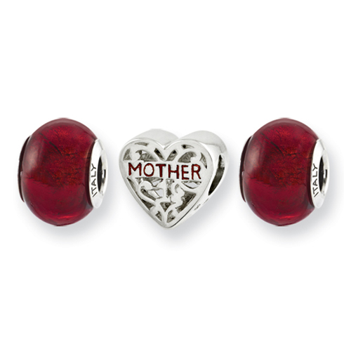 Sterling Silver Red Hot Momma Boxed Bead Set
