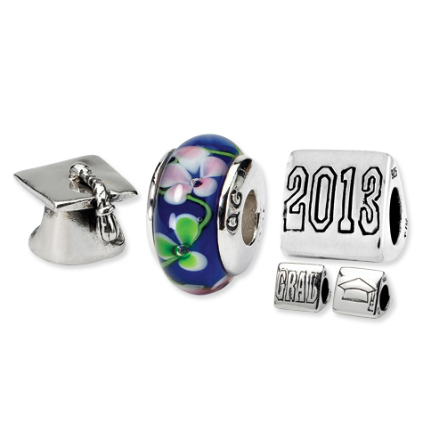 Sterling Silver Reflections 2013 Graduation Boxed Bead Set