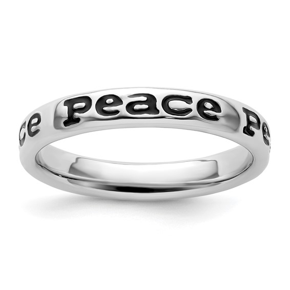 Sterling Silver Stackable Expressions Enameled Peace Ring