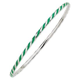 Sterling Silver Stackable Twist Green Enamel Bangle
