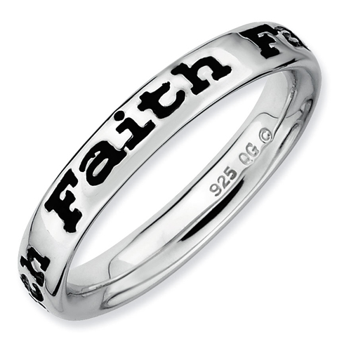 Sterling Silver Stackable Expressions Enameled Faith Ring
