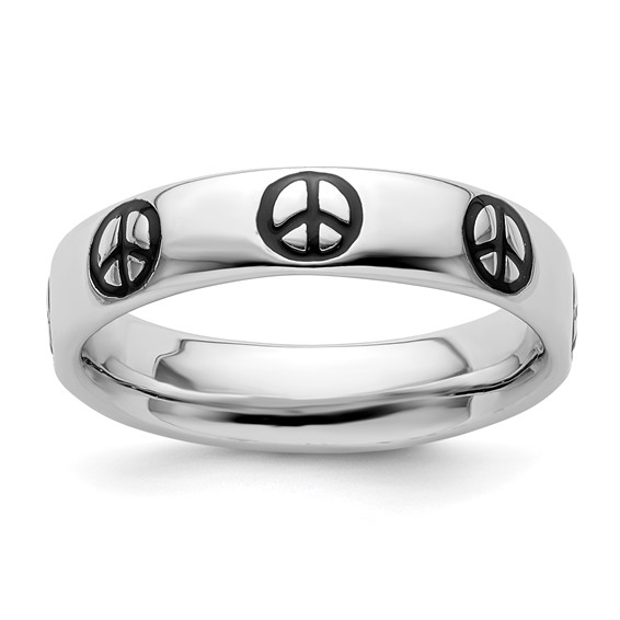 Sterling Silver Stackable Expressions Enameled Peace Sign Ring