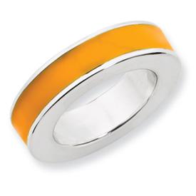 Sterling Silver Stackable Expressions Orange Enamel Pendant
