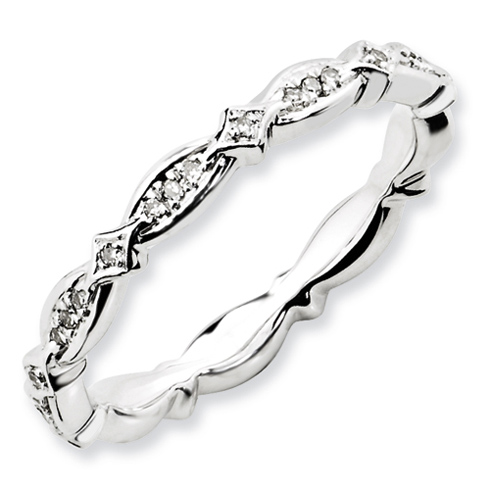 Sterling Silver 1/8 ct Diamond Stackable Ring