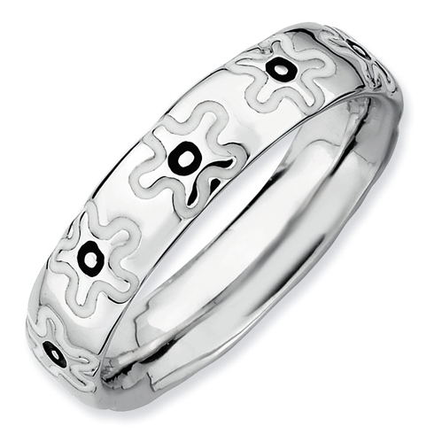 Sterling Silver Stackable Enameled White and Black Flowers Ring