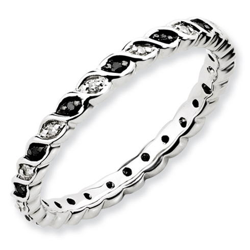Sterling Silver 1/6 ct Black and White Diamond Intertwine Ring