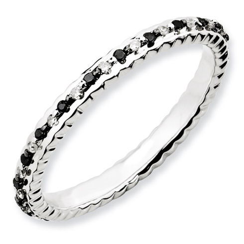 Sterling Silver 1/4 ct Black and White Diamond Stackable Ring