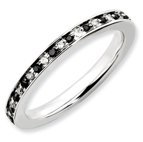 Sterling Silver Stackable 1/4 ct Black and White Diamond Ring