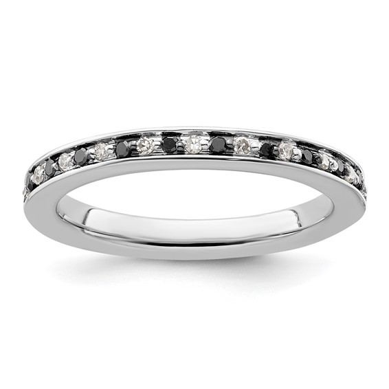Sterling Silver 1/4 ct Black and White Diamond Ring