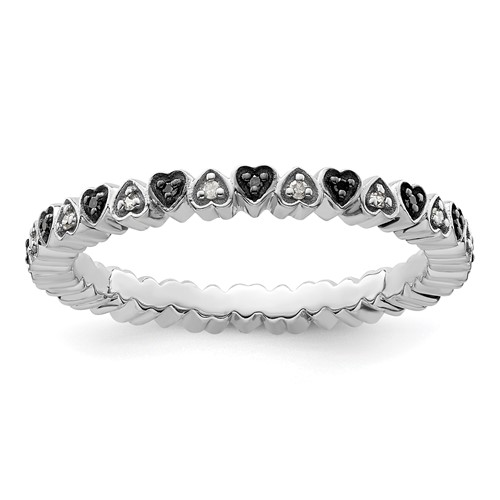 Sterling Silver 1/8 ct Hearts Black and White Diamond Ring