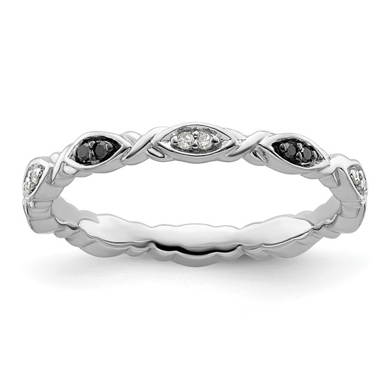 Sterling Silver 1/10 ct Black and White Diamond Ring