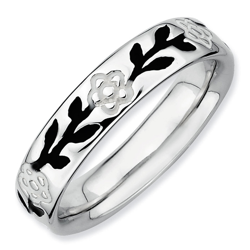 Sterling Silver Stackable Expressions Enameled Flower Ring