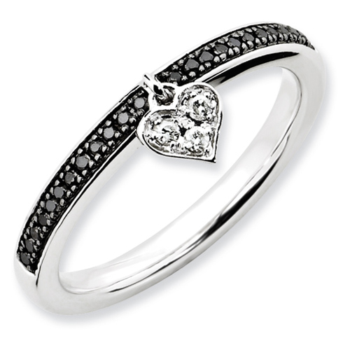 Sterling Silver Heart 1/8 ct Black and White Diamond Stackable Ring