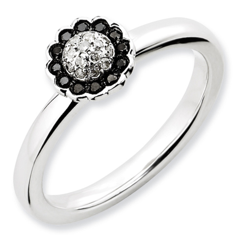 Sterling Silver 1/8 ct Black and White Diamond Ring