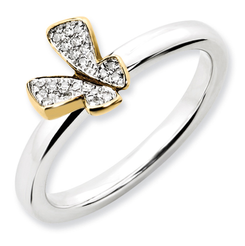 Sterling Silver Gold-plated Butterfly 1/20 ct Diamond Ring