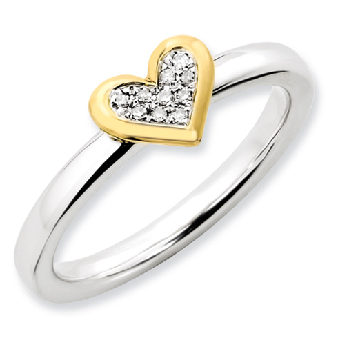 Sterling Silver Heart with 1/20 ct Diamond and Vermeil Ring