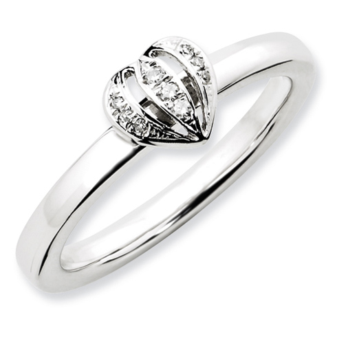 Sterling Silver 1/20 ct Diamond Heart Ring