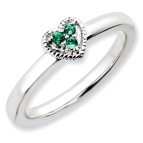 Sterling Silver Heart with Created Emerald Ring